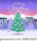 Merry Christmas and Fir Tree on City Background 36863669