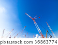crane, cranes, blue sky 36863774