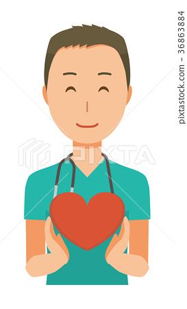 佩帶綠色洗刷的一位男性醫生有心臟標誌 36863884