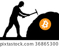 mining bitcoin concept - miner silhouette 36865300
