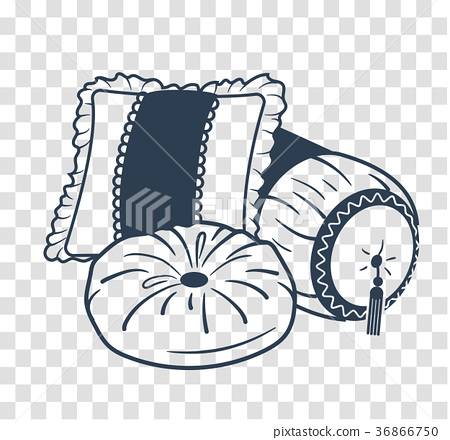 silhouette cushion set icon 36866750