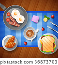 Breakfast with eggs, bacon, and a cup of coffee 36873703