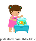 Illustration of girl feeding fish in aquarium. 36874817