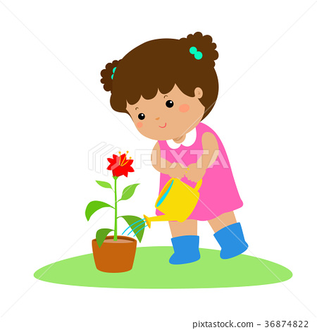 Cute cartoon girl watering plant vector. 36874822