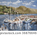 Oil Painting, bay, harbour 36876646