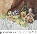 녹색 사과와 병 36876718