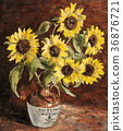 Oil Painting, sunflower, sunflowers 36876721