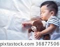 Newborn baby sleep with teddy bear 36877506
