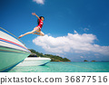 Asian lady jump and fly to sky between travel 36877516