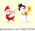 Santa Playing on Trumpet, Snowman with Drum Cymbal 36879784