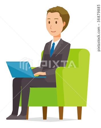 Young businessman sitting on the sofa and working with laptop 36879885