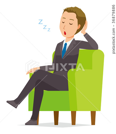 Young businessman sitting on the sofa and sleeping 36879886
