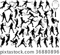 silhouettes of tennis players  36880896
