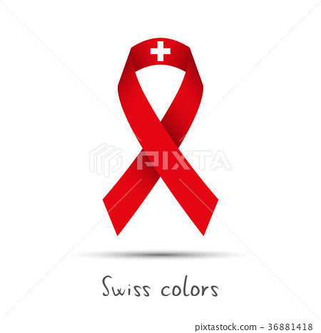 Modern colored ribbon with the Swiss colors 36881418
