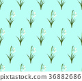 White Snowdrop Seamless on Green Mint Background 36882686