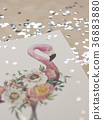 Exotic flowers and flamingo painted with 36883880