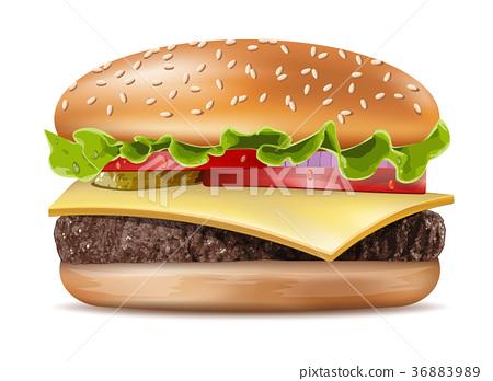 Vector Realistic Hamburger Classic Burger  36883989