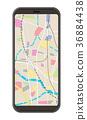 스마트 폰, 지도, 컷 일러스트 36884438