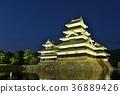 松本城 城堡 夜景 36889426
