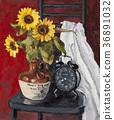 Oil Painting, still lifes, sunflower 36891032