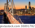 San Francisco Bay Bridge and Skyline at dusk 36891782