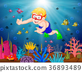 Cartoon boy diving in the sea 36893489