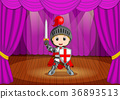 cute little boy wearing knight costume on stage 36893513