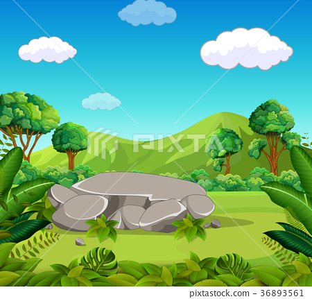 Nature scene with green mountain 36893561