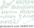 Japan map crayon 36895397