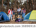 Young friends group forest tourism concept 36896916