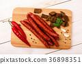 Smoked salami sausage with garlic, croutons  36898351