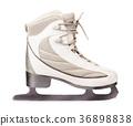 Side view of white ice skates 36898838
