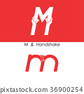 M - Letter abstract icon & hands logo design 36900254