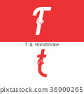 T - Letter abstract icon & hands logo design 36900265