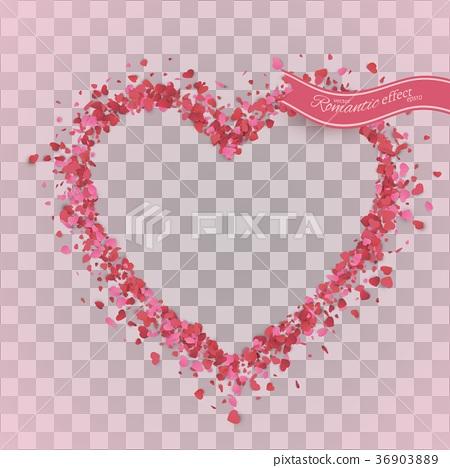 Heart confetti of Valentines petals falling  36903889