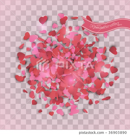 Heart confetti of Valentines petals falling  36903890
