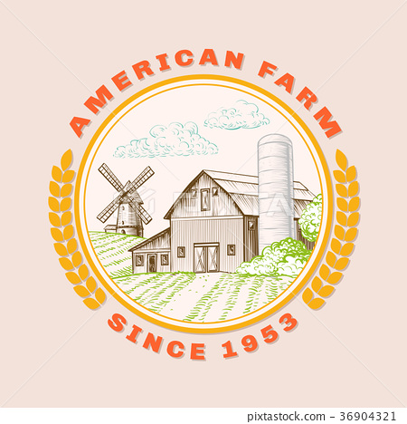 American farm barn for agriculture with windmill 36904321