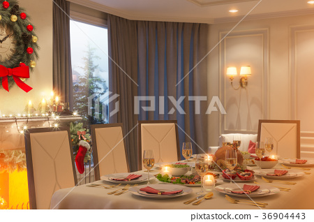 3d illustration of a Christmas family dinner table 36904443