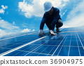engineer team working on replacement solar panel 36904975