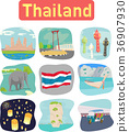 Thailand landmark objects icons label 36907930
