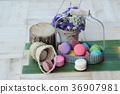 French dessert macaroons with colorful 36907981