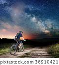 cyclist, night, sky 36910421