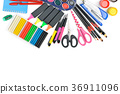 Collection of school supplies isolated on  white  36911096