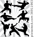 silhouettes of karate  36911963