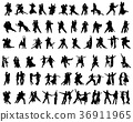 silhouettes of tango players 36911965