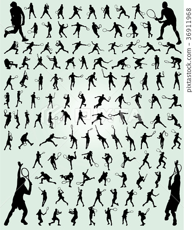 silhouettes of tennis players 36911968