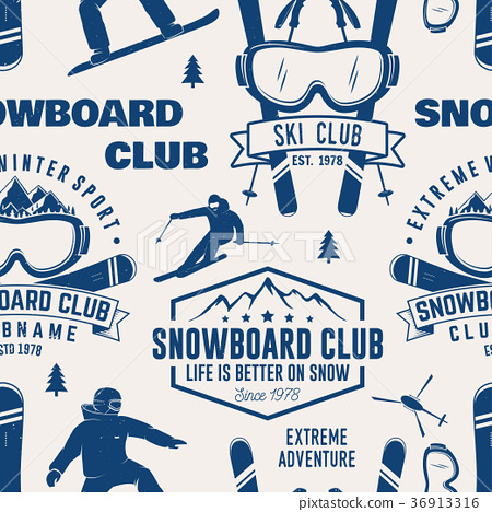 Ski and Snowboard Club seamless pattern. Vector 36913316