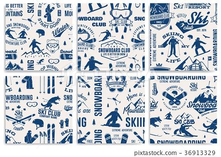 Set of Ski and Snowboard Club seamless pattern 36913329