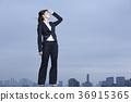 옥상에 서 비즈니스 우먼 36915365