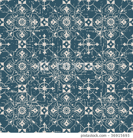 Seamless retro worn out background vintage pattern 36915693